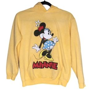 Disney Minnie Mouse Yellow Pullover Hooded Sweater